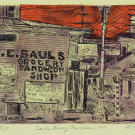 Jerry  Di Falco, , , Original Printmaking Etching, size_width{sauls_grocery_1928-1553279350.jpg} X 11 inches