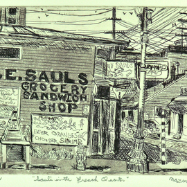Jerry  Di Falco, , , Original Printmaking Etching, size_width{sauls_in_the_french_quarter-1553279434.jpg} X 11 inches