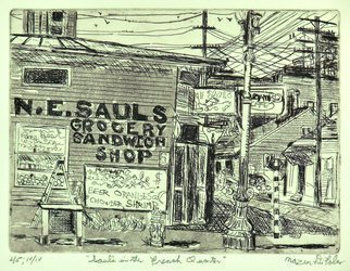 Jerry  Di Falco, 'Sauls In The French Quarter', 2019, original Printmaking Etching, 14 x 11  x 1 inches. Artwork description: 1911 I based this 1920 New Orleans scene on two of my original drawings, both of which were inspired by a digital image from the New York City Public Library s photo collection.  The cityscape features SAULS corner grocery store in the French Quarter.  Moreover, my visual elements ...