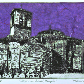 Jerry  Di Falco, , , Original Printmaking Etching, size_width{segovian_grail_temple-1559580489.jpg} X 12 inches