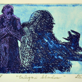Jerry  Di Falco, , , Original Printmaking Etching, size_width{shadow_of_caligari-1546712810.jpg} X 11 inches