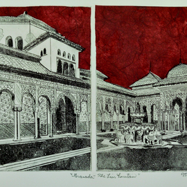 Jerry  Di Falco, , , Original Printmaking Etching, size_width{the_lion_fountain_in_granada-1549821087.jpg} X 16 inches