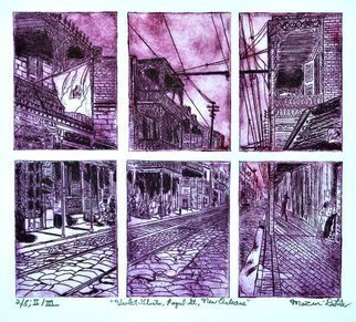 Jerry  Di Falco; Violet Ghosts Of Royal Street, 2019, Original Printmaking Intaglio, 20 x 16 inches. Artwork description: 241 The artist, Jerry Di Falco, created this etching by using six zinc plates, all placed on the pressthree above threeto produce one single image.  Each plate size measured 3 inches wide, 7. 6200cm, by 4 inches high, 10. 160cm, and the etching plates were separated by a ...