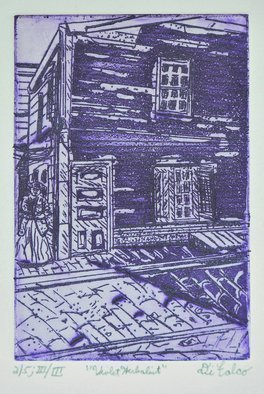 Jerry  Di Falco, 'Violet Herbalist', 2019, original Printmaking Etching, 9 x 12  inches. Artwork description: 1911 This etching is print number one of five from the third and final edition.  The scene is based on several original pencil drawings by the artist, which all depict a black and white photograph from the Temple University Libraries, Special Records Research Center.  The narrative involves an ...