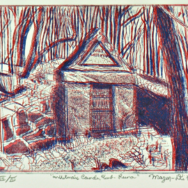 Jerry  Di Falco, , , Original Printmaking Etching, size_width{walt_whitman_tomb_in_3_d-1548094003.jpg} X 12 inches