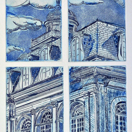 Jerry  Di Falco, , , Original Printmaking Etching, size_width{window_into_the_french_quarter-1559580248.jpg} X 24 inches