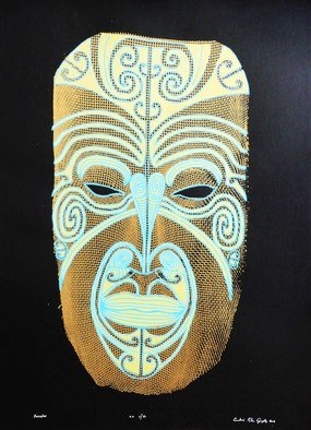 Peter Lendvai; Ancestor, 2008, Original Printmaking Serigraph, 50 x 70 cm. Artwork description: 241  I combined the net face with the traditional Maori tattoo, called moko. This print is respond to the Maori people cultural heritage. ...