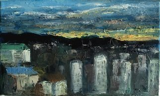 George Grant; City Scape, 2017, Original Painting Oil, 25 x 12 cm. Artwork description: 241 oil on canvas, worked by mixed techniques of brushes and pallet knife.  ...