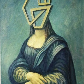 George Grant; Mona Lisas Inner Essence, 2020, Original Painting Oil, 30 x 45 cm. Artwork description: 241 Oil on canvas. Metaphysical interpretation of the famous artwork.  Inside is Emptiness, Nothing ...