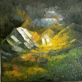 George Grant; Mountain Valley, 2020, Original Painting Oil, 30 x 30 cm. Artwork description: 241 Oil on canvas, worked with pallet knife. ...