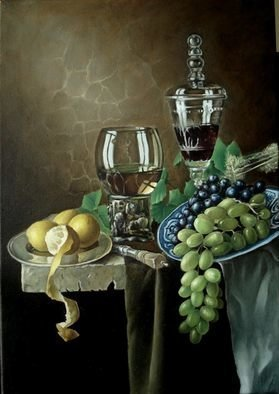 George Grant; Still Life With Grapes, 2016, Original Painting Oil, 52 x 69 cm. Artwork description: 241 Flemish multilayer technique. ...
