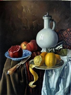 George Grant; Still Life With Pitcher, 2018, Original Painting Oil, 40 x 50 cm. Artwork description: 241 Flemish multilayer technique...