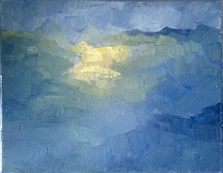 George Grant; Sunrise In Himalayas, 2019, Original Painting Oil, 28 x 28 cm. Artwork description: 241 oil on canvas, worked with pallet knife...