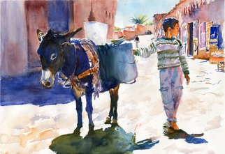 Gilles Durand; Bringing Water Home Ait B..., 2008, Original Watercolor, 20 x 14 inches. Artwork description: 241   Original watercolor on Fabriano Artistico paper....