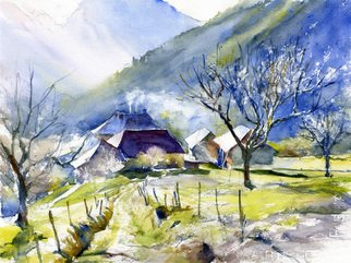 Gilles Durand; Farm In Doucy En Bauges Savoie, 2008, Original Watercolor, 15 x 11 inches. Artwork description: 241   Original watercolor on Fabriano Artistico paper....