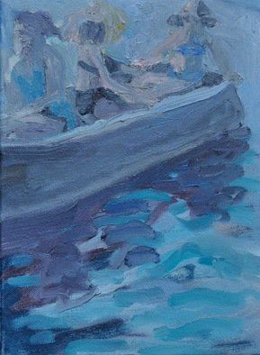 Gillian Bedford; Come Boating, 2013, Original Painting Oil, 9 x 12 inches. Artwork description: 241  boating family water lake river sea ocean boat figure ...