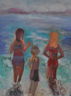 Gillian Bedford; Ruby And Friends, 2013, Original Painting Oil, 30 x 40 inches. Artwork description: 241  beach family figurative water sand peace ocean light summer  ...