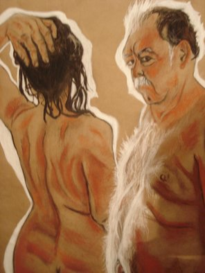 Gina Shelley; Adam And Eve, 2008, Original Drawing Charcoal, 20 x 24 inches. Artwork description: 241  I was inspired by the light illuminating my husband's chest. Vine charcoal, red, orange, and white contiwere used to create this piece. ...