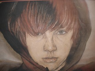 Gina Shelley; Joe In A Hoodie, 2009, Original Drawing Charcoal, 27 x 23 inches. Artwork description: 241   Vine charcoal with brown, white, and red conte on craft paper  ...