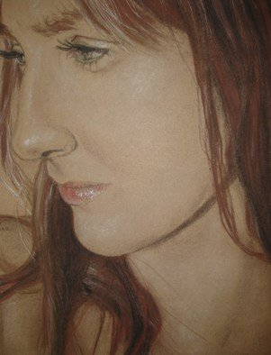 Gina Shelley; Sarah, 2009, Original Drawing Charcoal, 15 x 19 inches. Artwork description: 241  Inspiration for this drawing came fromSarah' s beautiful face.  I use red, white and brown conte' with touches of vine charcoal on craft paper. ...