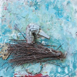Ginny Krueger; Crazy Bird, 2011, Original Painting Encaustic, 12 x 12 inches. Artwork description: 241   Encaustic and Mixed Media Elements on Wood Panel; Steel Angle Iron Frame Included           ...