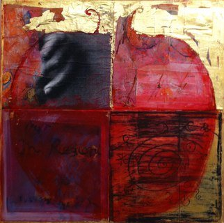 Cassandra Wainhouse; Big Pomegranate , 2014, Original Mixed Media, 80 x 80 cm. Artwork description: 241 abstract figurative, contemporary art, mixed media, Oil painting, gold leaf , collage and fotography on canvas fruit, pomegranate...