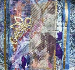 Cassandra Wainhouse; Il Glicine, II, 2015, Original Mixed Media, 40 x 40 cm. Artwork description: 241 mixed media, abstract figurative, contemporary art, woman figure, nude, oil painting , gold leaf , collage, stitching on paper     ...