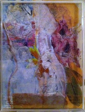 Cassandra Wainhouse; Still Motion,IV, 2014, Original Mixed Media, 24 x 32 cm. Artwork description: 241      abstract figurative, nude, woman figure, botanical, nature, contemporary art, mixed media, Oil painting , collage, stitching on paper in plastic             ...