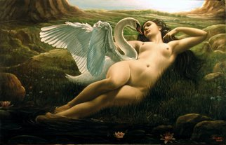 Rapiti Giovanni; Leda And The Swan, Sensual, 2008, Original Painting Oil, 130 x 80 cm.