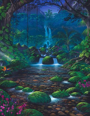 Steven Power; CRYSTAL FALLS, 2002, Original Giclee Reproduction, 36 x 27 inches. Artwork description: 241  TROPICAL FANTASYSURF INSPRED...