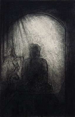 George Kofas; Kamakura, 2010, Original Printmaking Etching, 8 x 12 cm. Artwork description: 241                       RomanticismSymbolist ArtAbstractFigurativeabstract figurativeMysticalReligiousChristianInspirational                       ...