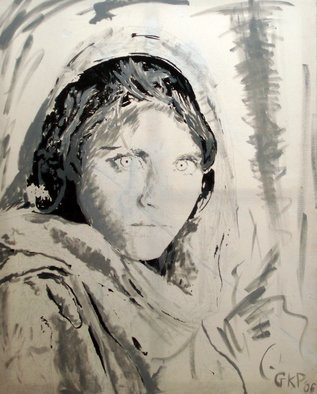 Guy Pomeroy; Afghanhgirl, 2006, Original Painting Acrylic, 100 x 120 cm.