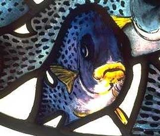 John Clark; Detail From Flock Of Fishes, 2001, Original Glass Stained,   inches. Artwork description: 241 A small section from the Cafe Gandolfi Windows showing how the window is etched and painted. ...