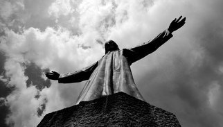 Glen Sweeney; Above Men, 2013, Original Photography Black and White, 92 x 53 cm. Artwork description: 241 Statue of Jesus, Templo del Sagrado Corazon de Jesus.  Spain...