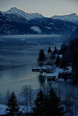 Glen Sweeney; Cold Light Of Day 1, 2007, Original Photography Color, 36 x 53 cm. Artwork description: 241 The cold blue light of a winter s dawn over Grundlsee in Austria. Lake, Grundlsee, Austria, mountains. ...