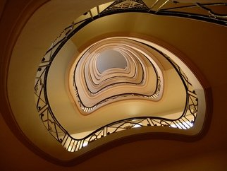 Glen Sweeney; Dizzy, 2006, Original Photography Color, 96 x 72 cm. Artwork description: 241 A spiral staircase in an hotel in Cannes, France. Always a mesmerising subject. Staircase, spiral, Cannes , France. ...