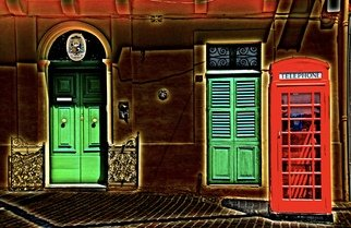 Glen Sweeney; Its 4 U Dr Who, 2012, Original Photography Color, 103 x 66 cm. Artwork description: 241 A British telephone box out of place in Malta, Doctor Who on his travels. Malta, telephone box, manipulated image, doorways. ...