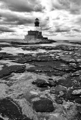 Glen Sweeney; Longstone Bw, 2009, Original Photography Black and White, 36 x 54 cm. Artwork description: 241 The Longstone lighthouse, Northumbria, England at low tide. Lonely, haunting places. Lighthouse, Longstone, Northumbria, low tide, rocks. ...