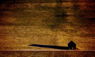 Glen Sweeney; Morning Shadow, 2018, Original Photography Color, 64 x 42 cm. Artwork description: 241 A lonely barn throws its shadow across an empty field. Schladming, Austria, field, barn, shed, morning light...