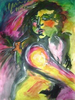 Gloria Marino; Flavored Freedom, 2012, Original Painting Acrylic, 90 x 80 cm. Artwork description: 241   sensuality, expressionism, women, freedom, bird ...