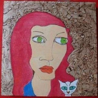 Lee Freeman; Lulu And Cat, 2013, Original Other, 10 x 10 inches. Artwork description: 241  Pyrography with watercolor and oil pencil coloring  ...