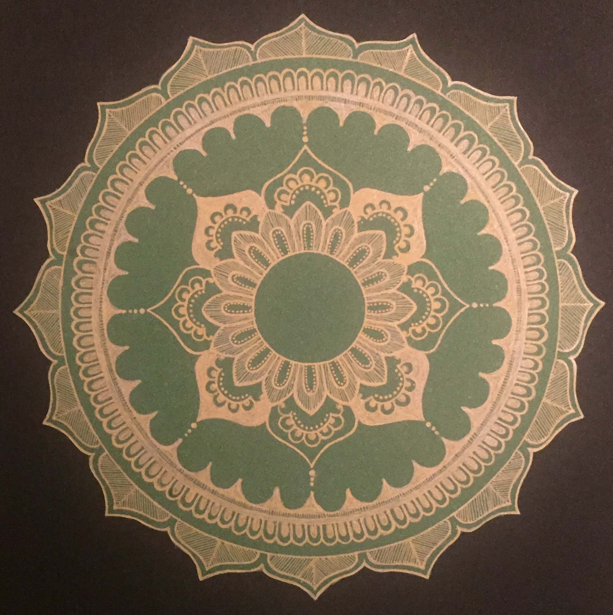 Rabina Byanjankar Shakya; Golden Lotus, 2017, Original Painting Other, 210 x 297 mm. Artwork description: 241 Golden lotus cut out Mandala. Hand drawn using gold color gel pen on green metallic sheet cutout and pasted on black A4 size paper. Color green is associated with health, prosperity, and harmony. Gold represents wealth, success and status. ...