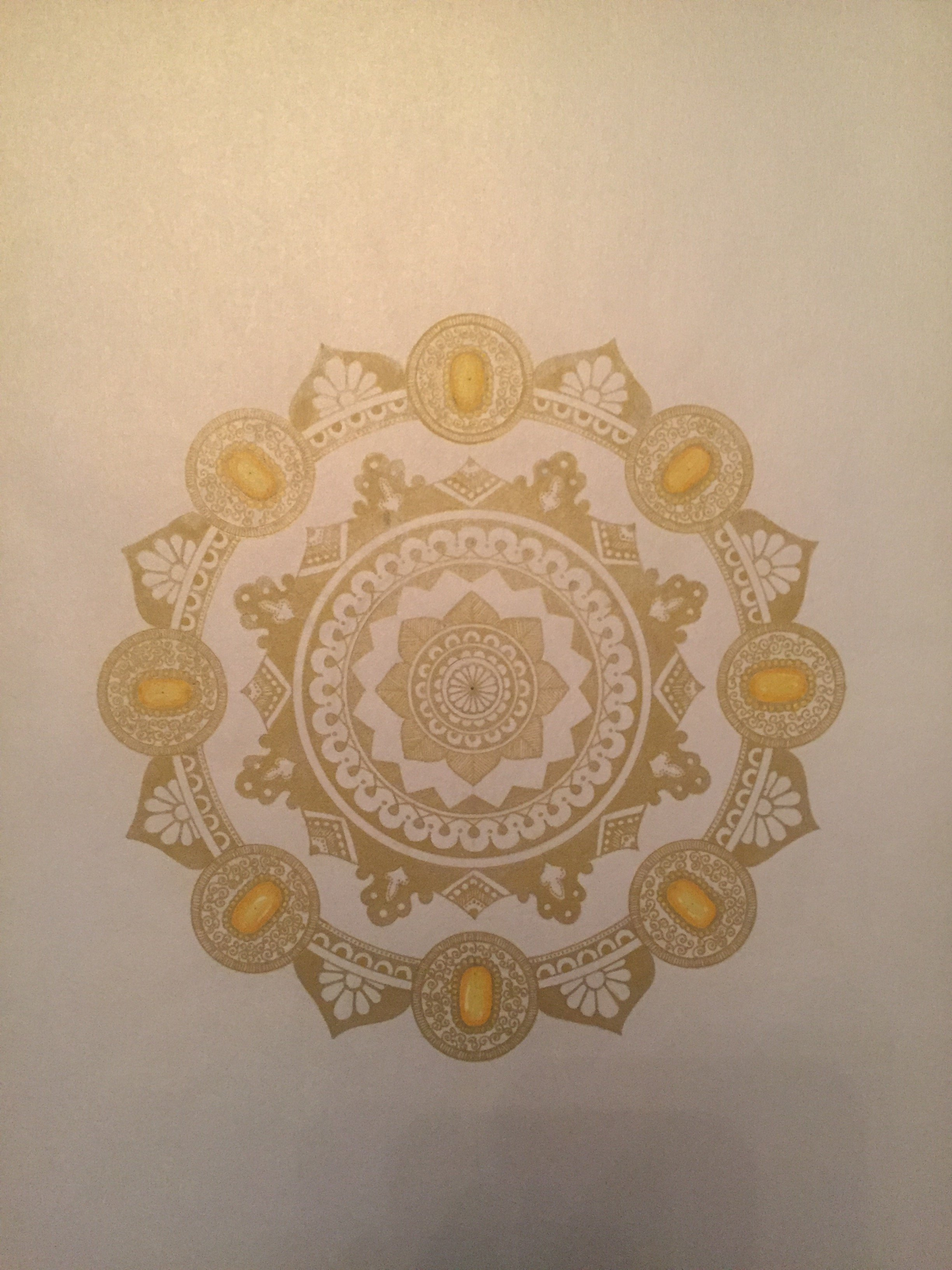 Rabina Byanjankar Shakya; heavenly jewel, 2017, Original Painting Other, 210 x 297 mm. Artwork description: 241 The mandala is made with gold gel pen on white glittery metallic paper. The paper size is A4. Frame is not included in the price. White is often considered a pure and heavenly. The mandala has been inspired by the several depiction of heaven as per Buddhist ...