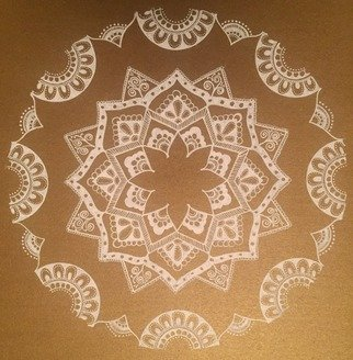 Rabina Byanjankar Shakya; white mandala, 2017, Original Painting Other, 210 x 297 inches. Artwork description: 241 Floral mandala with simple and elegant patterns done on gold color paper with white ink gel pen. A4 size paper is used. The mandala uses simplistic patterns which signifies purity and and oneness of mind. It is original hand work suitable for decorative purposes and gifting. ...