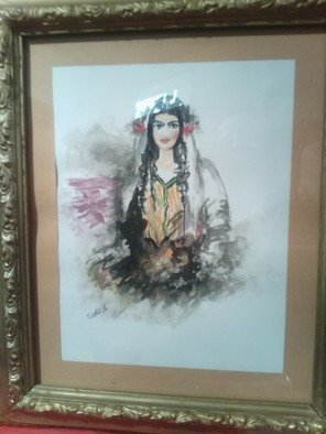 Goli Afjehei; Iranian Girl, 2019, Original Watercolor, 20 x 25 cm. Artwork description: 241 Its  imaging  an iranian girl about 100 years ago ...