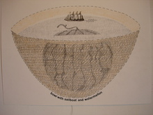 Artist: Gordana Olujic Dosic's, title: bowl with sailboat and wate..., 2010, Mixed Media