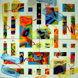 Alejandra Gonzalez; Random Feet, 2006, Original Painting Oil, 36 x 36 inches. Artwork description: 241  Four canvases united to make one piece. Abstract painting of feet following steps over a colorful laberinth. ...