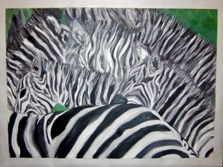 Alejandra Gonzalez; Zebras, 2006, Original Painting Oil, 40 x 30 inches. Artwork description: 241  Abstract figurative zebras captured in movement creating a special black and white effect.   ...