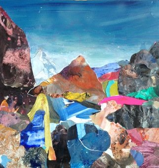 Goran Petmil; BLUE MOUNTAIN, 2011, Original Collage, 23 x 23 inches. Artwork description: 241   COLLAGE, LANDSCAPE MANY DOCTORS  ...