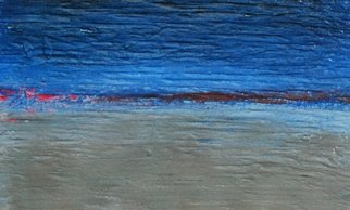 Goran Petmil; STILL MORNING, 2013, Original Painting Oil, 11 x 7 inches. Artwork description: 241  THE BEACH, PAINTING OF THE BEACH, BRIGHT CALM OCEAN. THE HORIZON, OIL ON PLYWOOD   ...